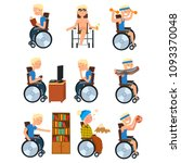 disabled man in wheelchair in... | Shutterstock .eps vector #1093370048