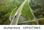 aerial top view of white truck... | Shutterstock . vector #1093375865