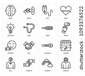 set of 16 simple editable icons ... | Shutterstock .eps vector #1093376522