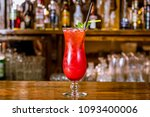 strawberry lemonade on the bar | Shutterstock . vector #1093400006