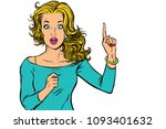 woman pointing finger up.... | Shutterstock .eps vector #1093401632