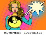 woman with megaphone  protest... | Shutterstock .eps vector #1093401638