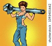 sexy woman in work overalls... | Shutterstock .eps vector #1093401662