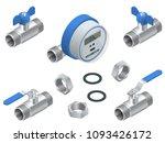 isometric set of water meter... | Shutterstock .eps vector #1093426172