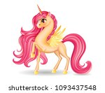 pony unicorn character with big ... | Shutterstock .eps vector #1093437548