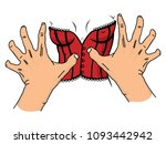 greedy hands trying to grab a... | Shutterstock .eps vector #1093442942