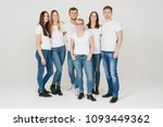 group of trendy relaxed friends ... | Shutterstock . vector #1093449362