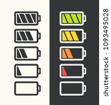 Stock vector icon set of batteries with different degree of energy charge battery black color white battery 1093495028