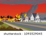 firefighters with engine fire... | Shutterstock .eps vector #1093529045