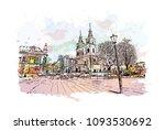landmark with building view of... | Shutterstock .eps vector #1093530692