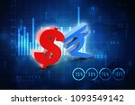 3d rendering dollar symbol with ... | Shutterstock . vector #1093549142