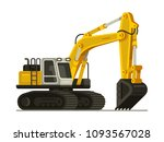 yellow excavator heavy... | Shutterstock .eps vector #1093567028