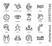 set of 16 simple editable icons ... | Shutterstock .eps vector #1093570166