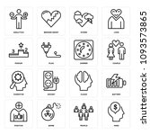 set of 16 simple editable icons ... | Shutterstock .eps vector #1093573865