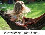 little girl having a rest in a...   Shutterstock . vector #1093578932