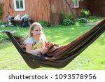 little girl having a rest in a...   Shutterstock . vector #1093578956