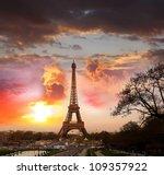 eiffel tower in the evening ... | Shutterstock . vector #109357922