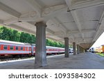 passenger car on platform in... | Shutterstock . vector #1093584302