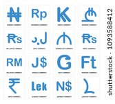set of 16 simple editable icons ... | Shutterstock .eps vector #1093588412