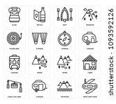set of 16 simple editable icons ... | Shutterstock .eps vector #1093592126