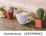 latte art coffee cup with... | Shutterstock . vector #1093598462
