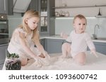 little daughters with white... | Shutterstock . vector #1093600742