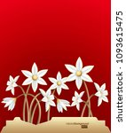 bunch of 3d white flowers on... | Shutterstock .eps vector #1093615475