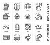 set of 16 simple editable icons ... | Shutterstock .eps vector #1093617395