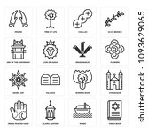 set of 16 simple editable icons ... | Shutterstock .eps vector #1093629065