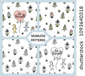 set of seamless patterns with... | Shutterstock .eps vector #1093640318