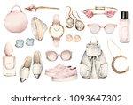 watercolor fashion illustration.... | Shutterstock . vector #1093647302