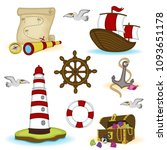 set of isolated nautical... | Shutterstock .eps vector #1093651178