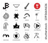 set of 16 simple editable icons ... | Shutterstock .eps vector #1093664636