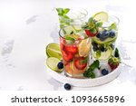 summer homemade fruit and... | Shutterstock . vector #1093665896