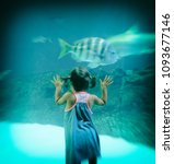 young girl looks at fish... | Shutterstock . vector #1093677146