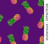 pineapples on purple background ... | Shutterstock .eps vector #1093678136