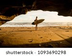 Young Surfer Woman With Surf...