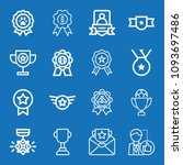 outline set of 16 award icons... | Shutterstock .eps vector #1093697486