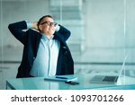 successful businessman sitting... | Shutterstock . vector #1093701266