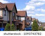 a quiet suburban cul de sac... | Shutterstock . vector #1093743782