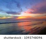 kuta beach colorful sunset with ... | Shutterstock . vector #1093748096