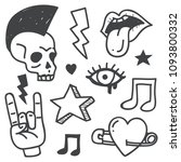 punk rock doodle illustration... | Shutterstock .eps vector #1093800332