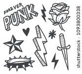 punk rock doodle illustration... | Shutterstock .eps vector #1093800338