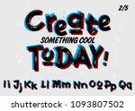 vector grunge font. double... | Shutterstock .eps vector #1093807502