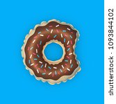 chocolate donut pool float.... | Shutterstock . vector #1093844102