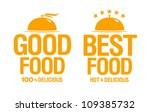 Best delicious food, vector signs. - stock vector