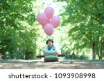 happy little girl flying her...   Shutterstock . vector #1093908998