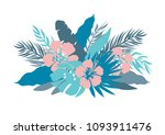 blue colors palm leaves and...   Shutterstock .eps vector #1093911476
