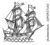 hand drawn sea ship... | Shutterstock . vector #1093927142