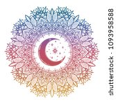 mandala with crescent moon and... | Shutterstock .eps vector #1093958588